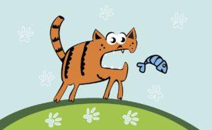 кот гоняется за рыбой